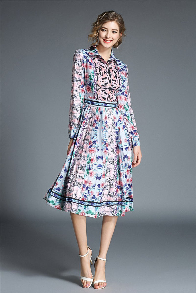 f126d2efa607 ... Print Long Sleeve Pleated Midi Dress Christmas Party. Hover to zoom