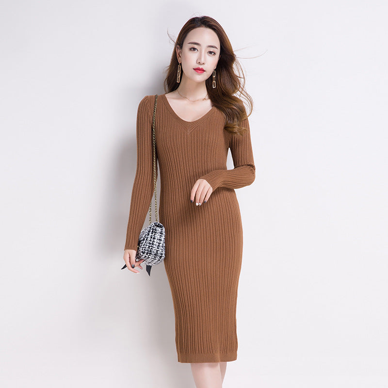 c33f13709d3 ... Yuxinfeng Autumn Winter Women Long Sweater Dresss Slim Korean Solid  Elastic Long Sleeve Sexy V Neck ...