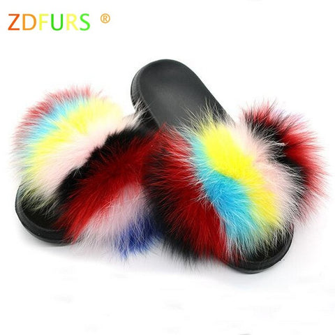 ZDFURS 2019 Hot Sale Women Fox Fur Slippers Multicolor Summer Fashion Slides Outdoor Female Furry Indoor Flip Flops Beach Sandal