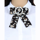 ZHINI Cute Lovely Plaid Bowknot Flower Buckle Statement Scarf Brooches Pins Trendy Cloth Clip Women's Tie Bow Brooches Jewelry