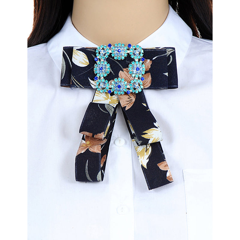 e14376633ab3d ZHINI Luxury Ribbon Bow Brooches For Women Fabric Bowknot Tie Necktie  Corsage Shirt Dress Imitation Brooch Pins Wedding Jewelry
