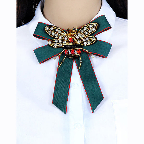 ZHINI Luxury Royal Baroque Fabric Bowknot Women Brooch Pin Handmade Ribbon Beads Bee Bow Tie Brooch Corsage Dress Shirts Jewelry