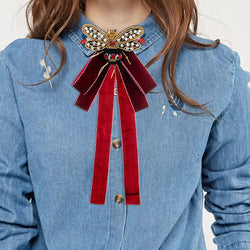 ZHINI New Arrival Vintage Ribbon Big Bow Brooches Pins With Bee For Women Butterfly Bow Brooch Tie Clothing Accessory Wholesale