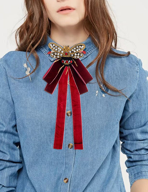 94717db3f57aa ZHINI New Arrival Vintage Ribbon Big Bow Brooches Pins With Bee For Women  Butterfly Bow Brooch Tie Clothing Accessory Wholesale