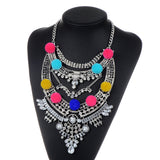 ZHINI New Style Colorful Gem Crystal Luxury Big Vintage Chunky Necklaces & pendants Maxi Boho Statement Hairball Collar Necklace