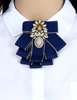 ZHINI Vintage Newest Woman Brooches Pink  Ribbon Big Bow-knot Brooch Pin Rhinestones Collar Shirt's Accessories Fashion Jewelry