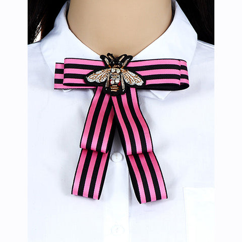 ZHINI Women Bow Brooches Pin Bee Shape Trendy Broches Jewelry Bowknot Brooch Vintage Collar Corsage Shirt Dress Jewelry Necktie