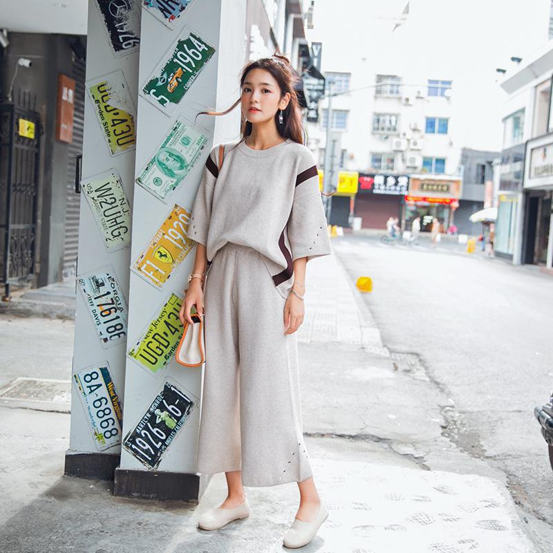 5c78e0124e33f ... ZHISILAO 2018 Tracksuit Woman Winter Knitted Sweater Two Sets Solid Two  Piece Set Wide Leg Pants