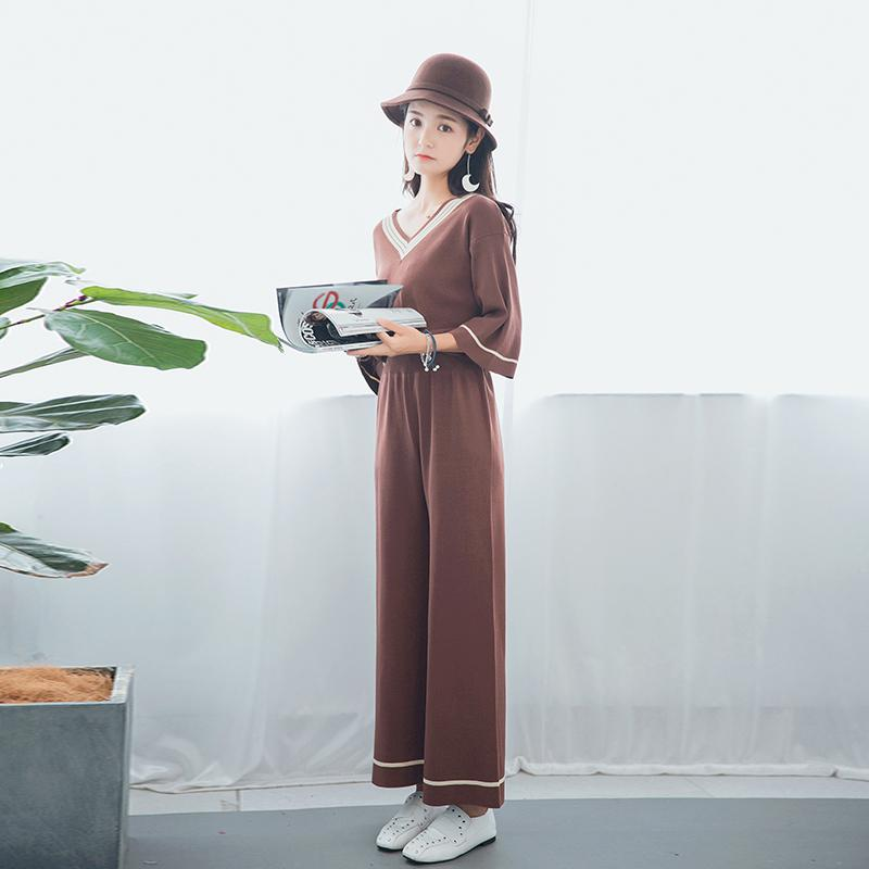 f9067b6574ef3 ... ZHISILAO 2018 Winter Woman Tracksuit Two Sets Knitted Sweater Warm Two  Piece Set Wide Leg Pants ...