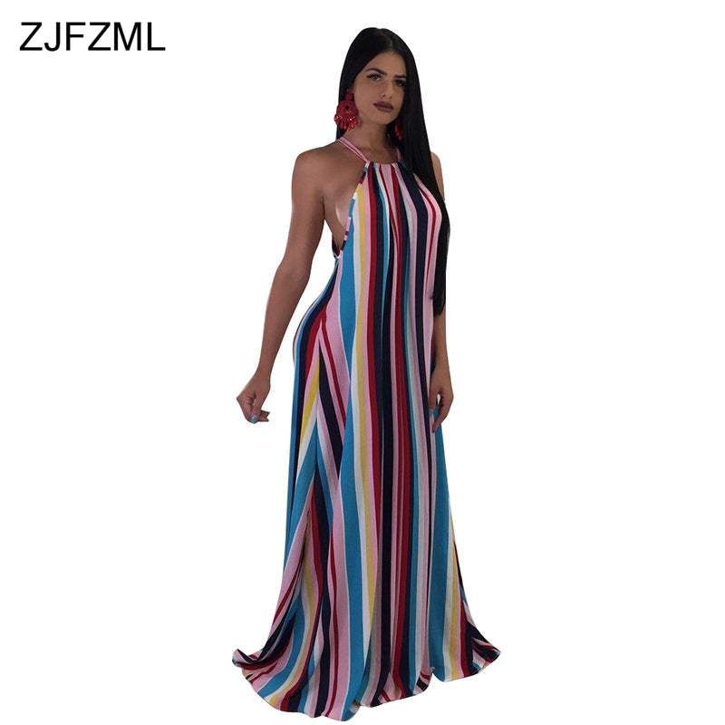 aa984566b45e9 ZJFZML Colorful Vertical Striped Sexy Loose Dress Women Spaghetti Strap  Sleeveless Maxi Robe Summer Off Shoulder. Hover to zoom