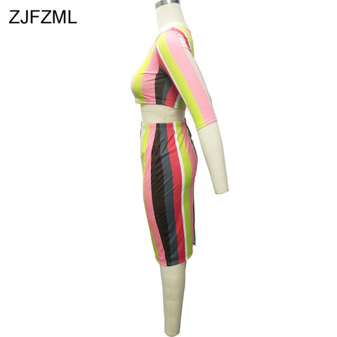 d3ef9d22e13a ... Image of ZJFZML Colorful Vertical Striped Summer Dress 2018 Women Round  Neck Short Sleeve Package Hip ...