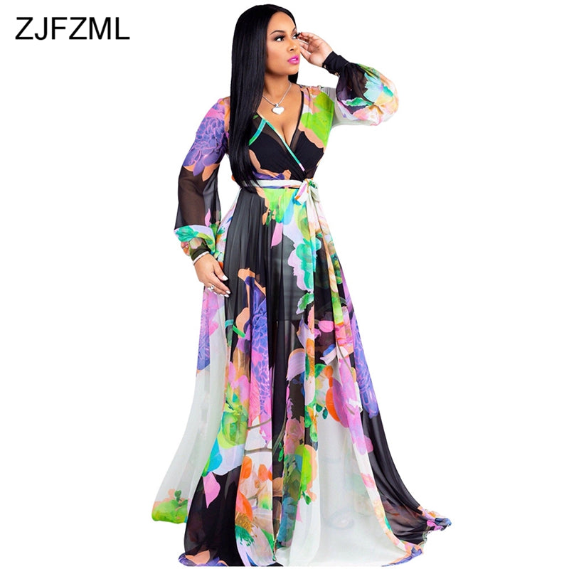 0fe2e76f361 ZJFZML Floral Printed Sexy Chiffon Dress Women Deep V Neck Full Sleeve Floor -Length Dress. Hover to zoom