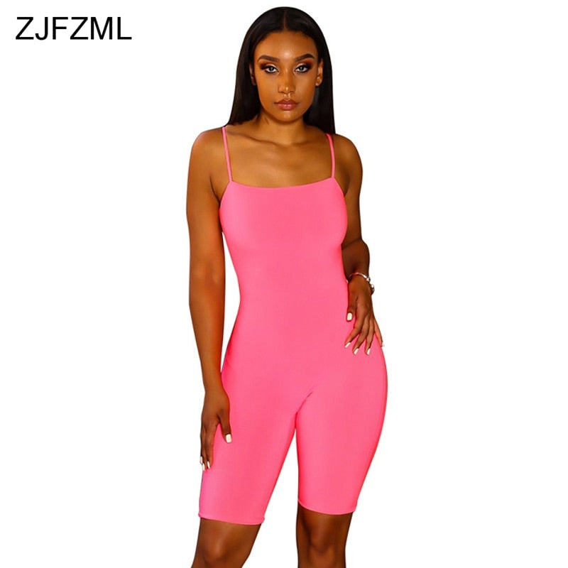 098cae8cc9ec4 ... ZJFZML Plus Size Sexy Sling Romper 2018 Women Spaghetti Strap Backless  One Piece Overalls Summer Solid ...