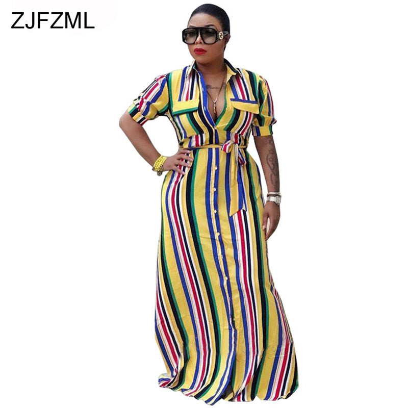 2b0d60e66853 Hover to zoom · ZJFZML Rainbow Vertical Striped Sexy Loose Dress Women Half  Sleeve ...