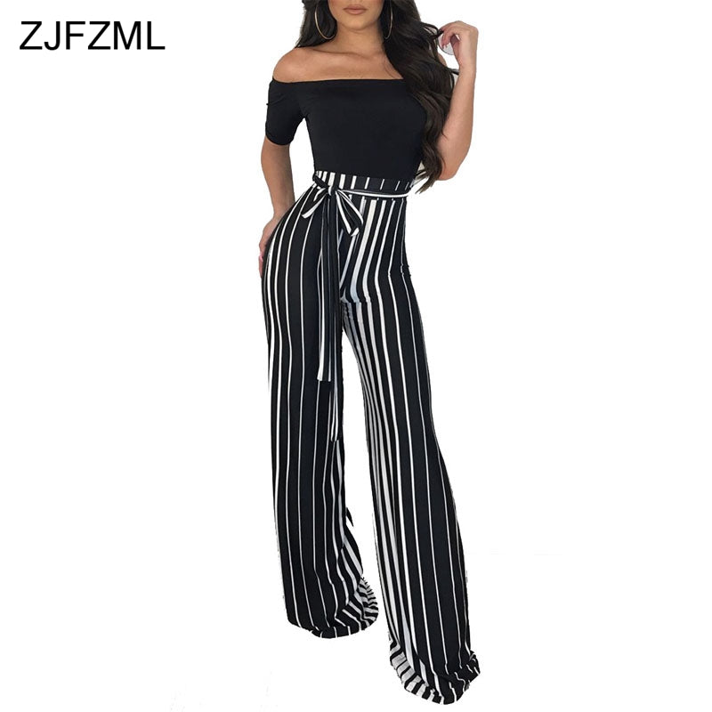 29151cd74cf5c ... ZJFZML Striped Print Casual Wide Leg Pants Summer Off Shoulder Short  Sleeve One Piece Overall Sexy ...