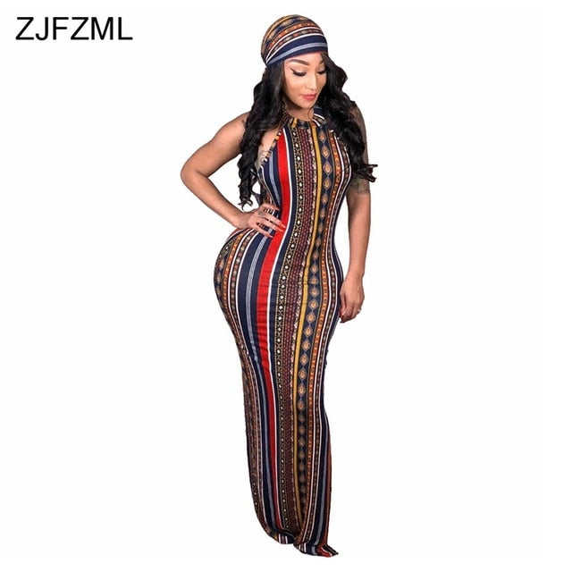 ZJFZML Striped Printed Vintage Bohemian Dress Women O Neck Sleeveless Plus  Size Dress Casual Vocation Maxi Dress With Head Scarf