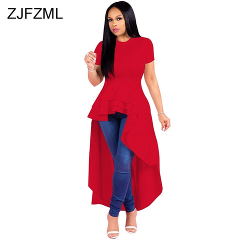 db08dcf2172 ... Image of ZJFZML Summer Solid High Low Dresses For Women Short Sleeve  Round Neck Irregular Vestidos ...