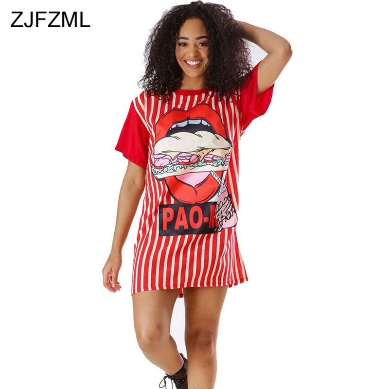 e5224fafec Hover to zoom · ZJFZML Vertical Striped Casual T Shirt Dress 2018 Summer  Women Short Sleeve Loose Sundress ...