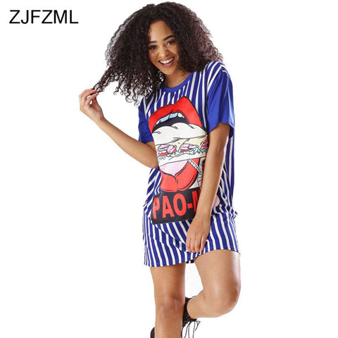 804b68fd7865 ... Image of ZJFZML Vertical Striped Casual T Shirt Dress 2018 Summer Women  Short Sleeve Loose Sundress
