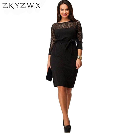 ZKYZWX L-4XL Women Plus Size Dress 2018 Summer New See Through Slim Sexy Black Lace Casual Dress Ladies Big Large Size Dresses