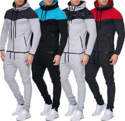 ZOGAA New Brand Men's Casual Color Block Tracksuit Autumn Fashion Two Piece Set For Men Fitness Sportswear Leisure Suit