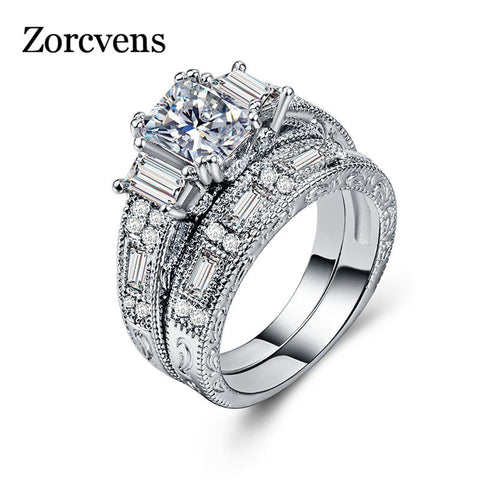 ZORCVENS New Brand Womens Jewelry Vintage Ring Wedding Engagement Women Rings Bijoux Ring Set