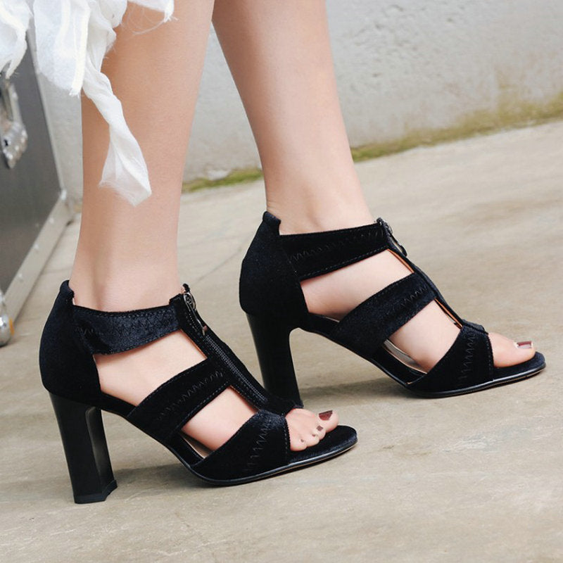 bb70353a035 ZawsThia new velour velet red blue block high heels woman pumps summer  shoes zipper in the front gladiator sandals for women