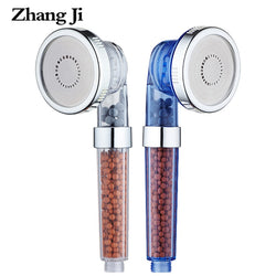 ZhangJi 3 Function Adjustable Jetting Shower Head Bathroom High Pressure Saving Anion Filter SPA Shower Heads Cardboard Packing