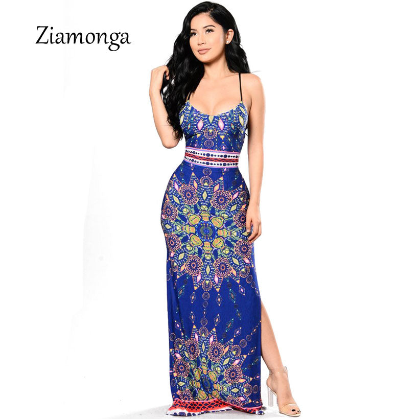 54461ef57c702 ... Maxi Dress 2018 New Floral Print Split Beach Dresses For Women  Backless. Hover to zoom