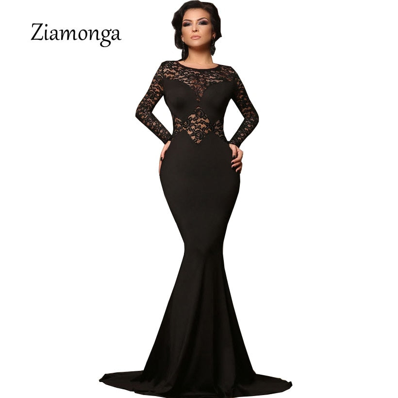 99c70e8f4d9 Ziamonga Plus Size Vestidos Women Sexy Evening Party Black Lace Dress Long  Sleeve Bodycon Mermaid Dress ...