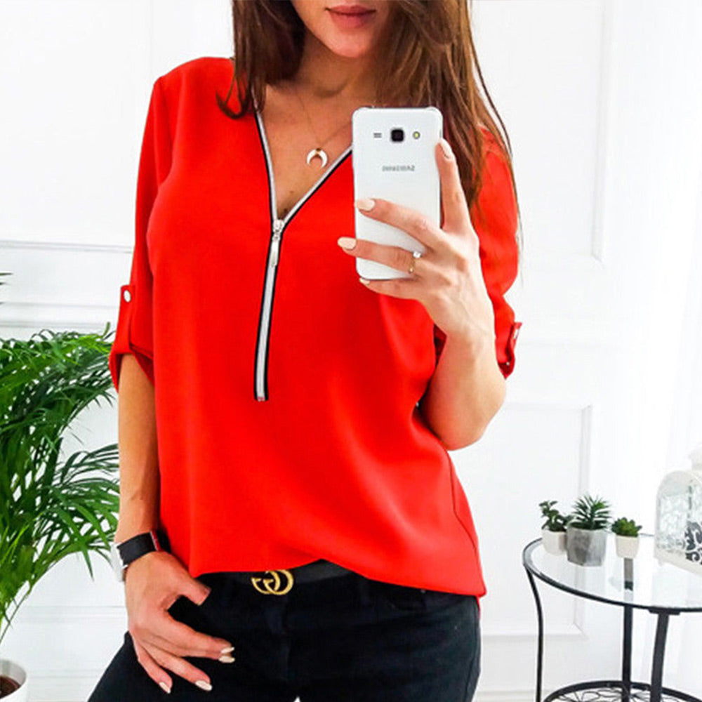 6b3a94709ce Zipper Short Sleeve Women Shirts Sexy V Neck Solid Womens Tops And Blouses  Casual Tee Shirts. Hover to zoom