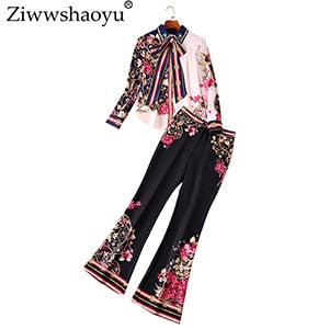 Ziwwshaoyu Fashion Diamonds Set Bow Beading Turn-down Collar shirt + horn pant Slim Two-piece suit  spring and summer new women