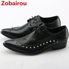 Zobairou mens dress shoes black spiked loafers oxford shoes for men leather  shoes studded iron pointy ... d6c290e817e3
