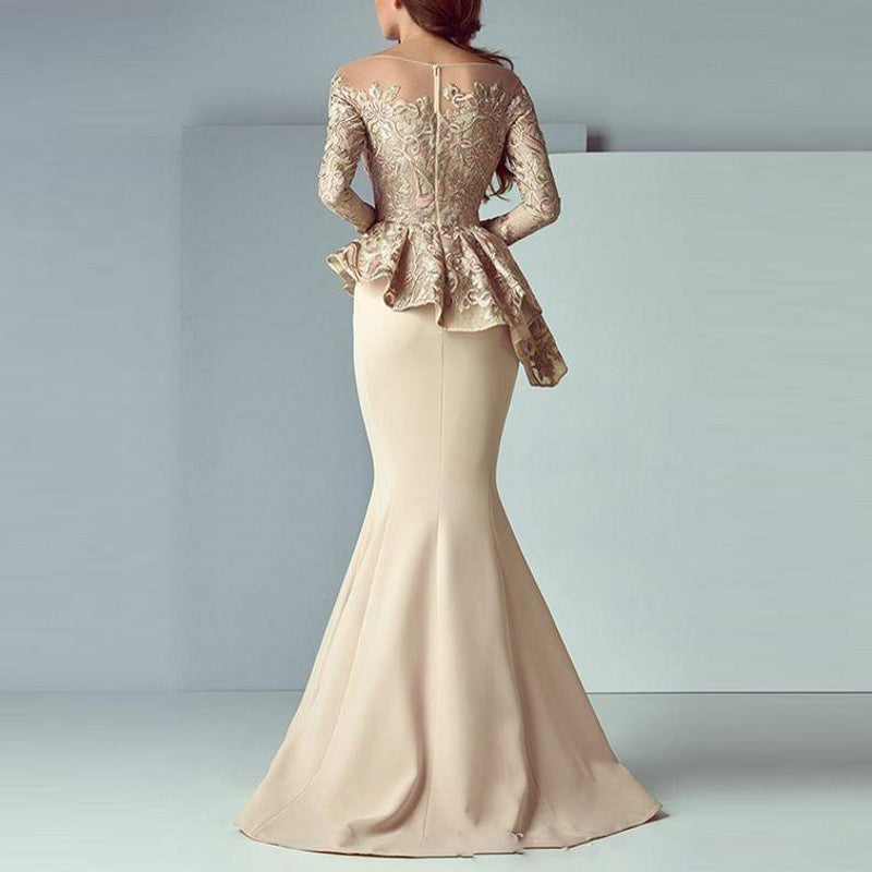 Evening Gown Khaki Full Sleeves Mermaid Evening Dresses Peplum abiye ...