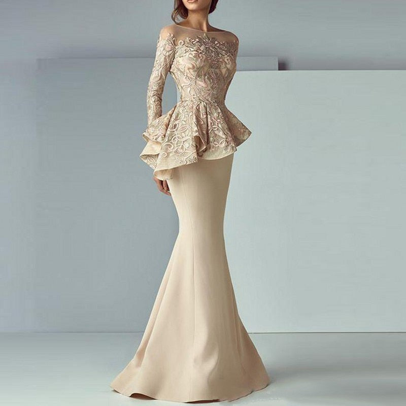 794e314fc6c9 Evening Gown Khaki Full Sleeves Mermaid Evening Dresses Peplum abiye ...