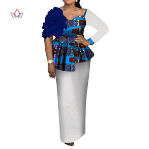 d82eccf907 africa style women african clothing flowersTop and Skirt set Bazin Riche  new africa dashiki plus size ...
