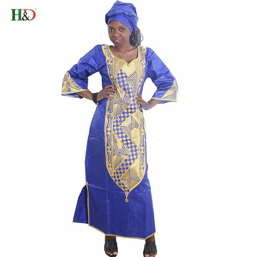african dresses for women 2018 NEW AFRICAN FASHION DESIGN NEW BAZIN RICHE EMBROIDERY DRESS LONG DRESS WITH SCARF