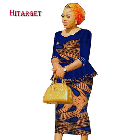 african dresses for women african print clothing top+skirt 2 pieces suits  african clothes for women  african maxi dress WY3782