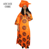 african dresses for women fashion design new african bazin embroidery design dress long dress with scarf two pcs one set A243#