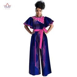 african women jumpersuit with print sexy overalls women jumpsuit elegant o-neck dashiki pants plus size short sleeve 5xl WY3380