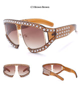 Luxury Italian Brand Designer Big Pearl Sunglasses