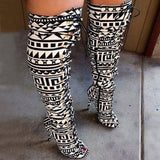 EThnic Tribal Boho Lace-Up Peep Open Toe Thigh High Heel Gladiator Women Long Boots Heels