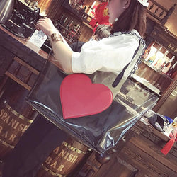 Big Summer Beach Bag PVC Clear Transparent Bags Handbags Women Shoulder Bags Large Capacity Composite Bag Set Heart Pattern Tot