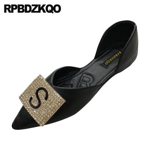 black slip on designer unique crystal women ladies beautiful flats shoes casual china rhinestone pointed toe chinese diamond