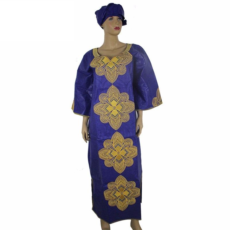 Women's African Long dress and Scarf Brocade - Owame