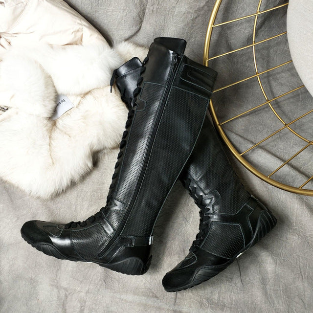 6b04dffb4f96 ... botas mujer 2018 Leather Boots Shoes Woman Knight boots Round Toes  Cross-Tied knee- ...