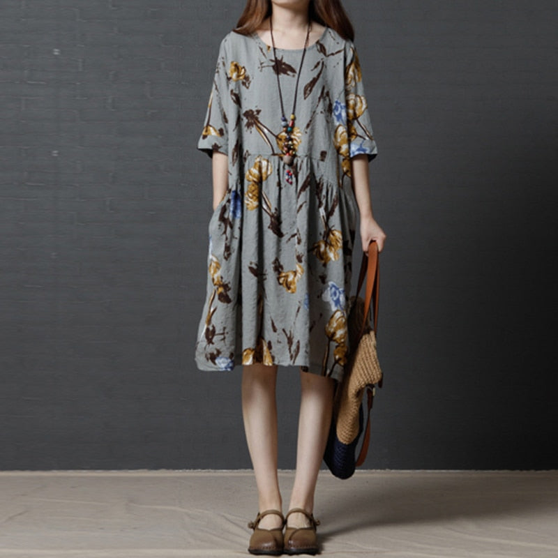 chineses folk country style Women Round Neck Half Sleeve New Fashion Loose  Plus Size cotton Linen mid calf Dress