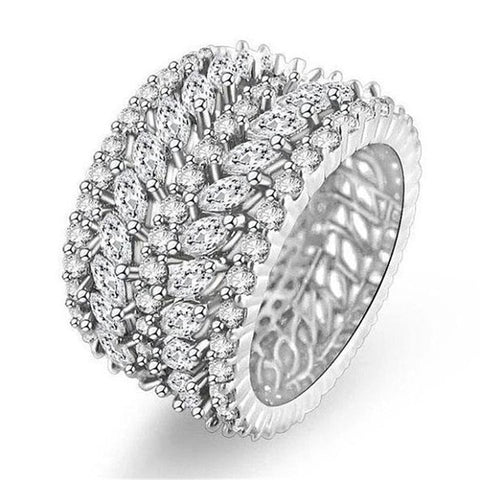 choucong Handmade Big Finger ring White Gold Filled Full 250pcs AAAAA Zircon Engagement Wedding Band Rings For Women men Jewelry