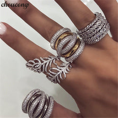 Image of choucong Handmade Big Finger ring White Gold Filled Full 250pcs AAAAA Zircon Engagement Wedding Band Rings For Women men Jewelry