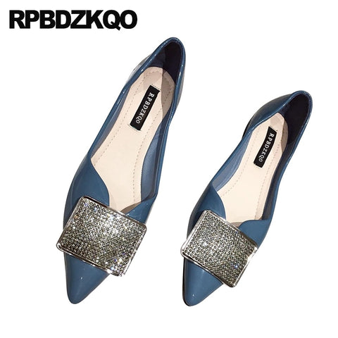 diamond women rhinestone pointy casual yellow crystal pointed toe slip on blue patent leather designer cheap shoes china flats
